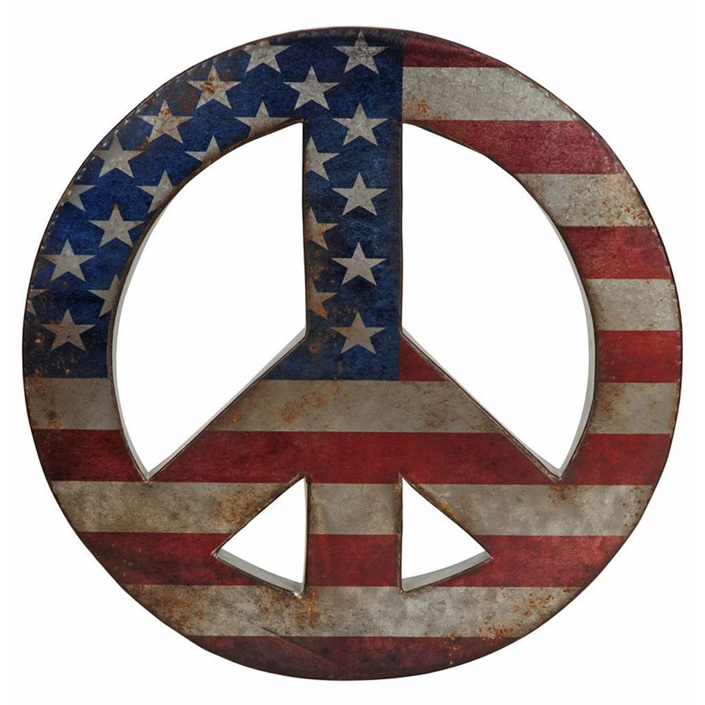 American Peace Peaceful Wall Decor Round Wall Art Vintage Inspired Wall Art