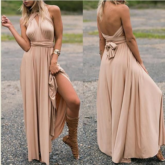 Women Convertible Multi Way Wrap Maxi Dress Backless Sexy Beach Sundress  Bridesmaid Party Dresses Bandage Bodycon Long Prom Gown e078765f7ca6