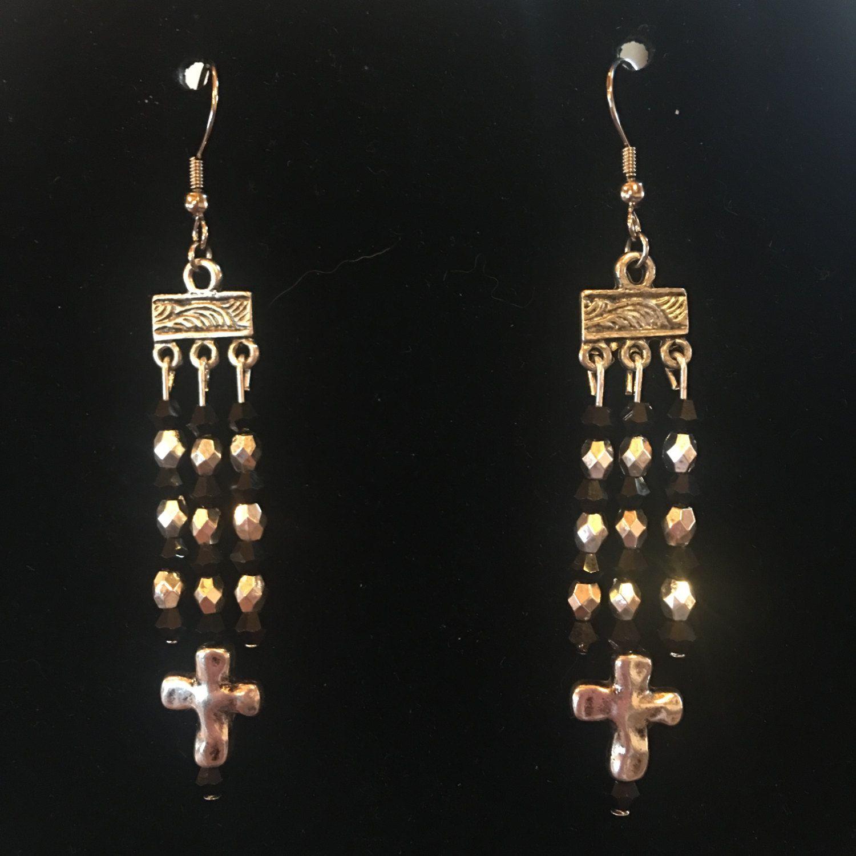 Handmade small silver cross dangle chandelier earrings glass beads handmade small silver cross dangle chandelier earrings glass beads nickel free hypoallergenic silver black arubaitofo Choice Image