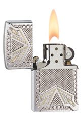 Armor Arrowhead Engraved Zippo Lighter  Follow your arrow and add this brushed chrome Armor™ lighter to your collection. The deep carve gives an interesting texture to the backdrop while the two tone engraving creates stunning arrowheads at the edges. Comes packaged in an environmentally friendly gift box. For optimal performance, use with Zippo premium lighter fluid