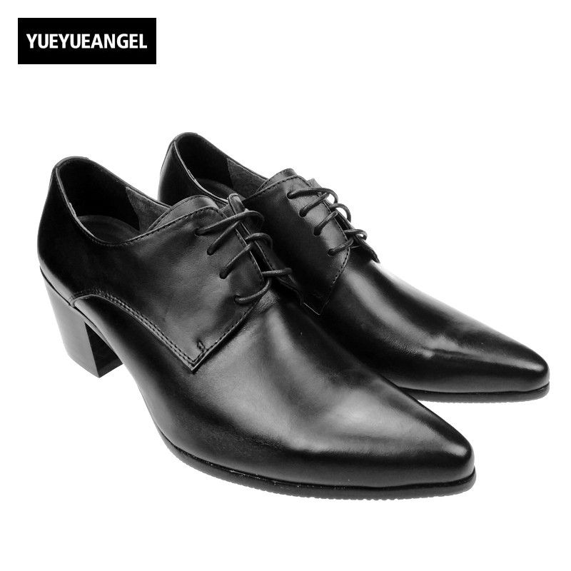 Italy Design High Quality Brand New Fashion Mens Lace Up Pointy Toe Oxfords  Formal Dress Shoes Cuban Heels Leather Business Shoe e14be63ccc48