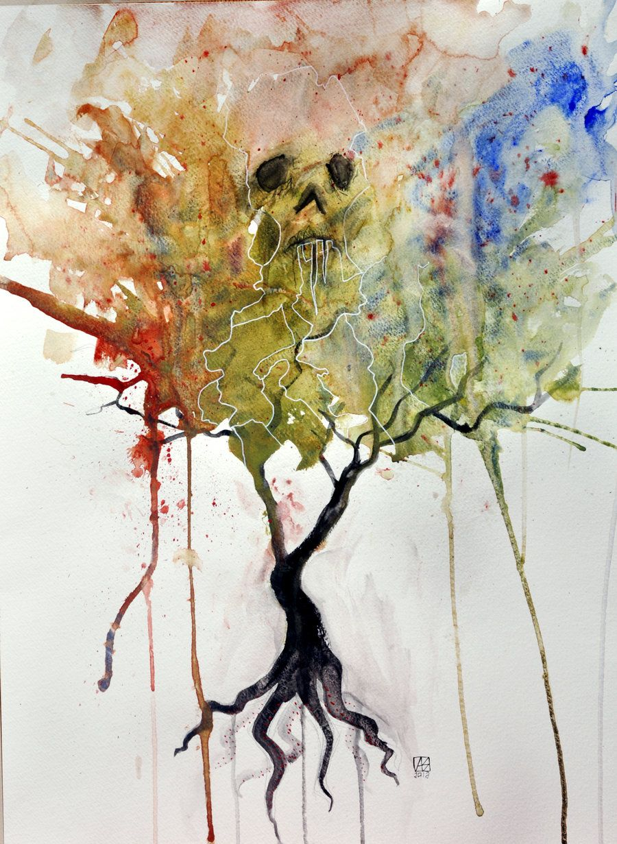 Abstract Watercolor Artists Trees Skull Tree Painting Thenewestredranger