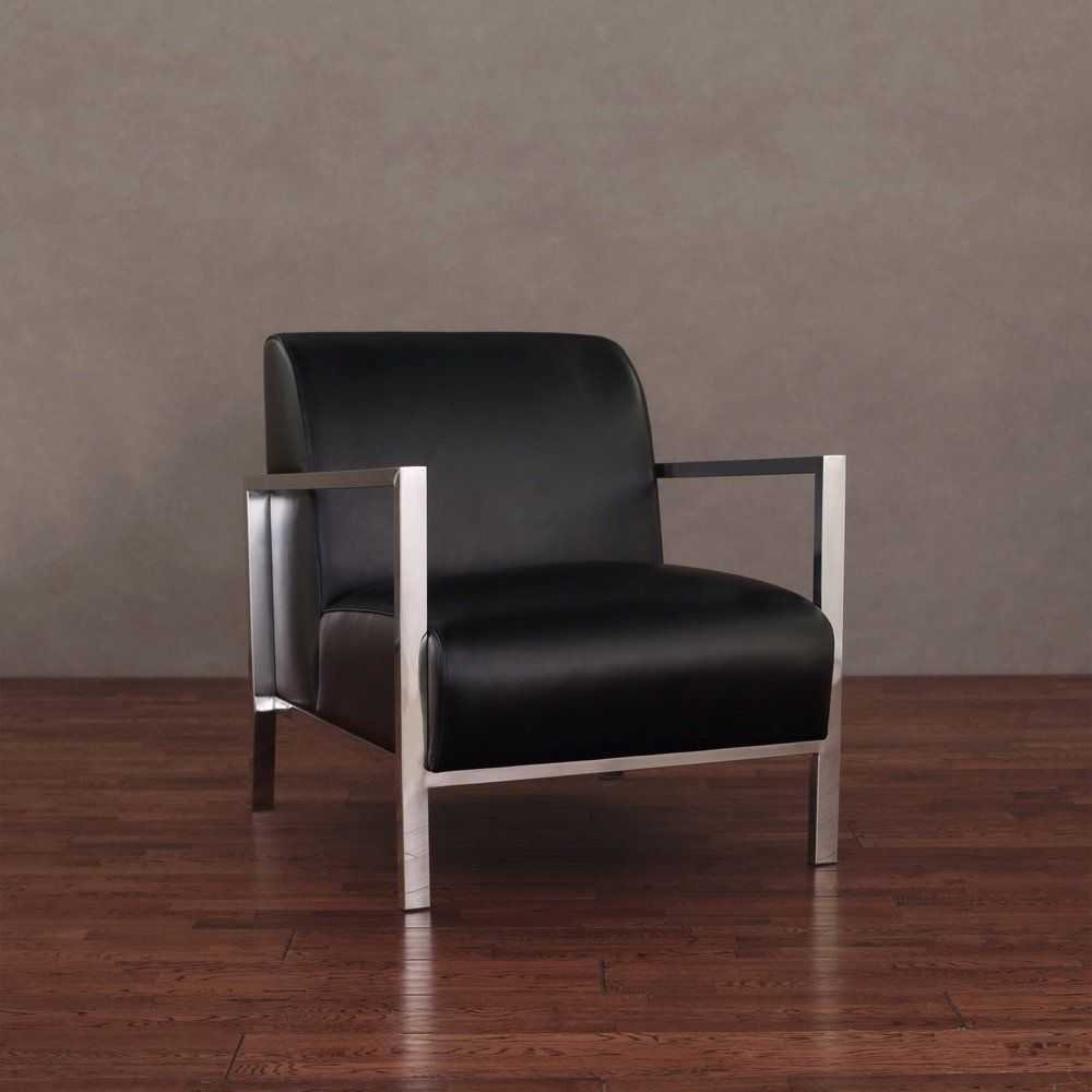 Best Modena Modern Black Leather Accent Chair Overstock Com 400 x 300