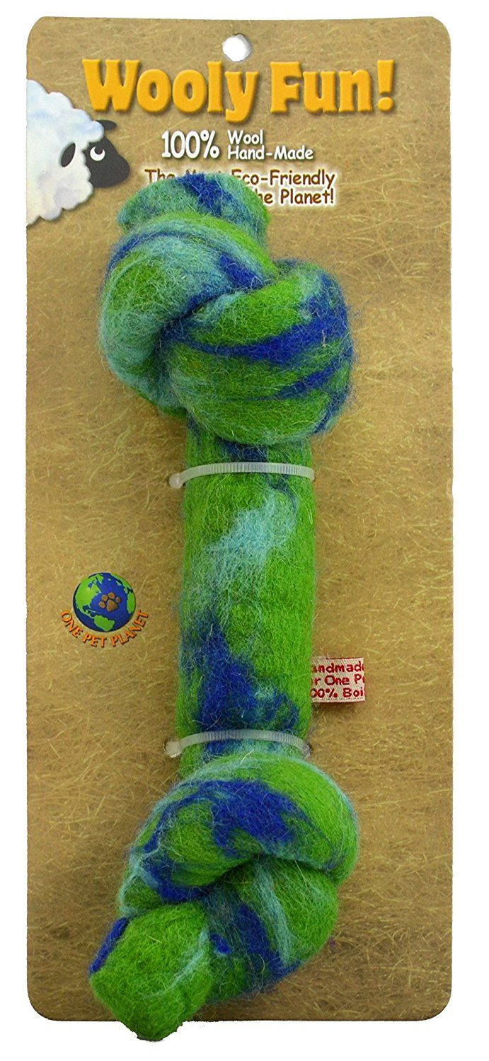 One Pet Wool Knotted Bone Chew Toy, 6.5Inch, Green
