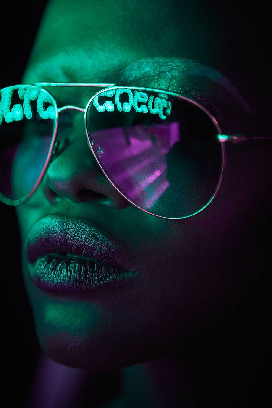 Neon Light Portrait On Behance: Pop Portraits With Neon Light Reflected In Sunglasses