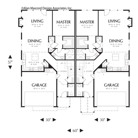 Main Floor Plan Of Mascord Plan 4037 The Whitman Gabled Roofs Downplay Large Garages Duplex Floor Plans Craftsman Style House Plans Duplex Plans