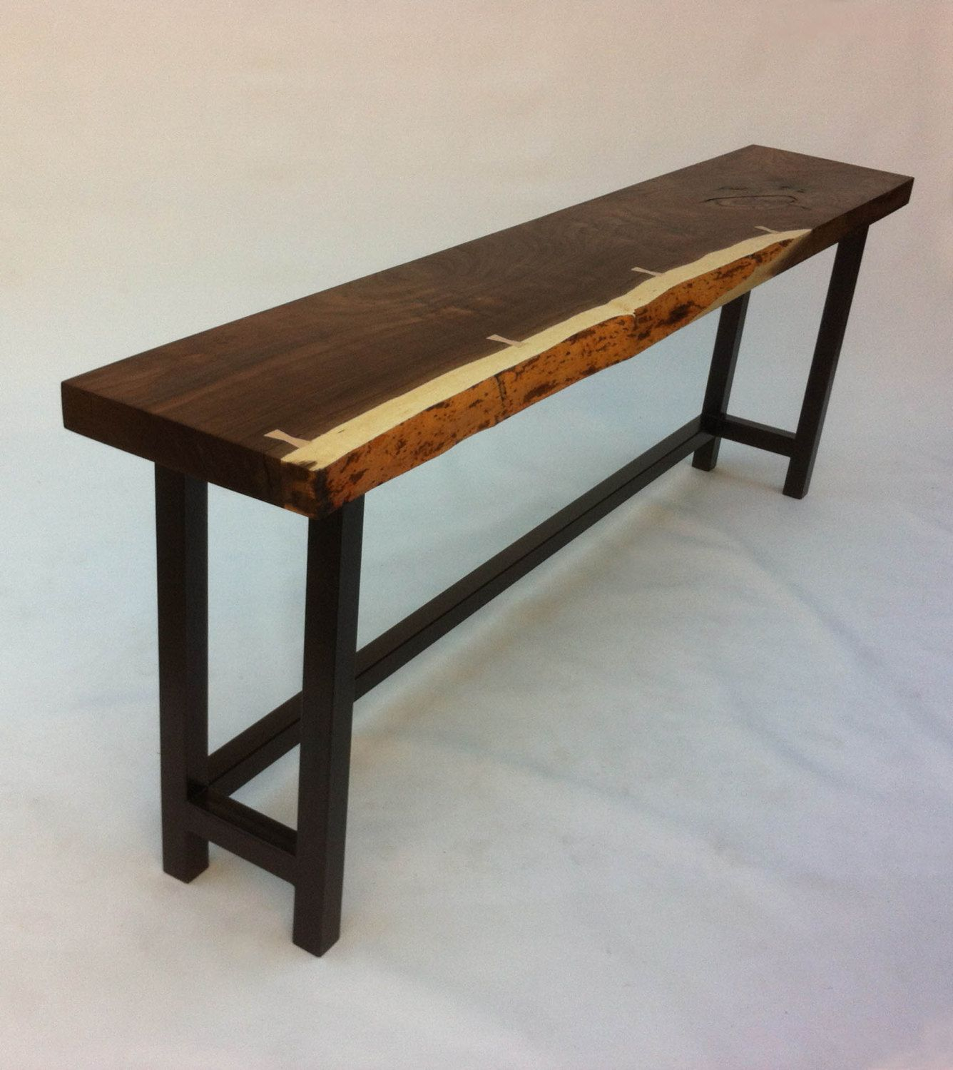 Superbe Natural Live Edge Walnut Slab Hall Table   Contemporary Console In Solid  Rustic Walnut On Metal