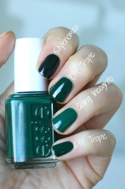 "Essie - Off Topic. ""... right between Going Incognito and Stylenomics: it's darker than Going Incognito but lighter than Stylenomics. Stylenomics is one that looks black in most lighting but Off Tropic stays looking dark green. Off Tropic is basically what I always have wanted Stylenomics to be: a nice dark green that LOOKS green, not black."""