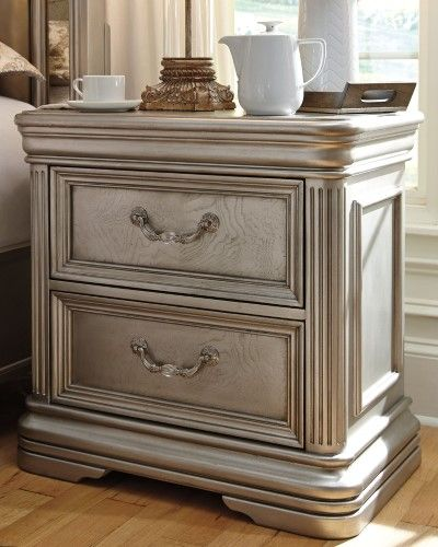 Best Birlanny Silver 2 Drawer Nightstand Bedroom Furniture 400 x 300
