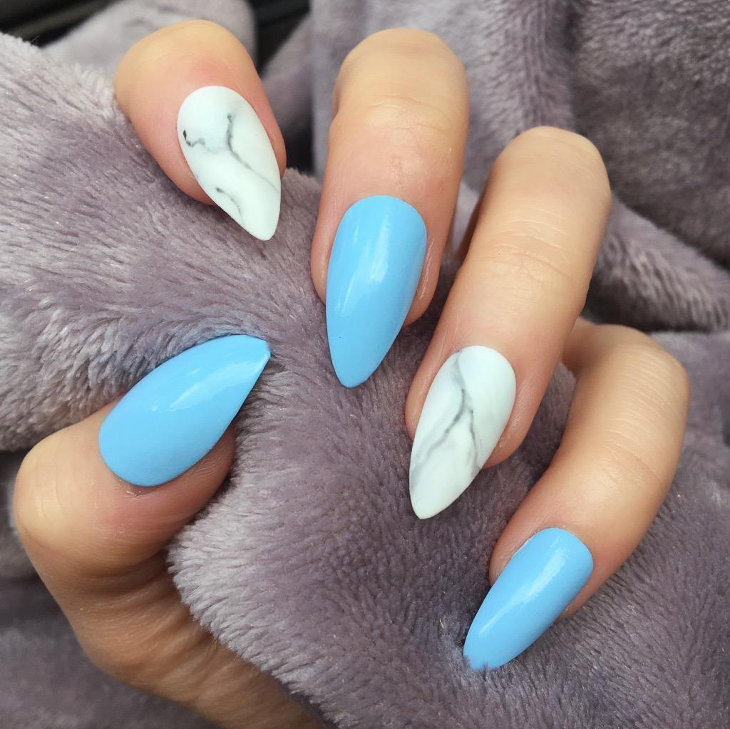Baby Blue Gloss Marble Baby Blue Nails Marble Nail Designs Marble Nails