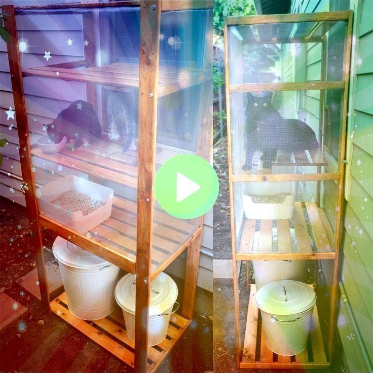 de arena para gatos DIY al aire libre  catio hecha con un estante IKEA Hejne arena para gatos Plugis  Caja de arena para gatos DIY al aire libre  catio hecha con un estan...