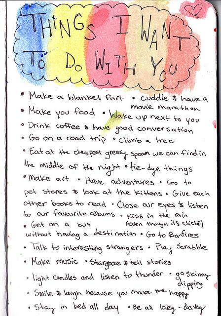 Things I Want To Do With You My Boyfriend Perfect List