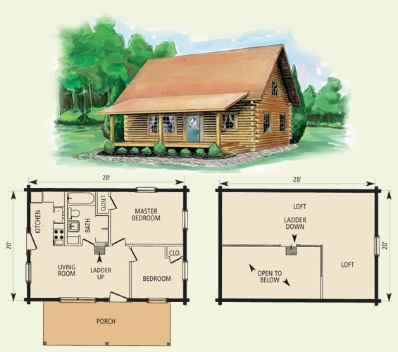 small log house plan with loft