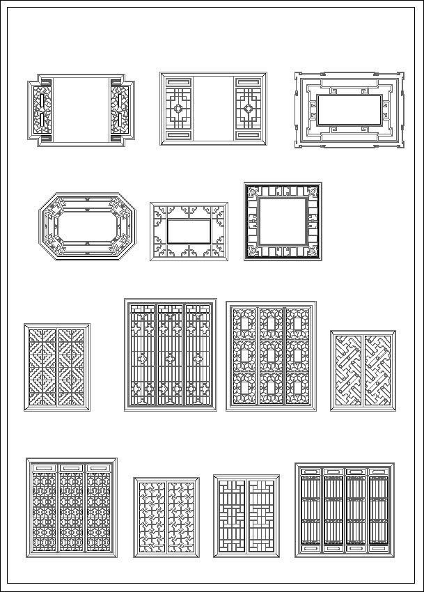 Chinese window drawing cad design free cad blocks for Window design autocad