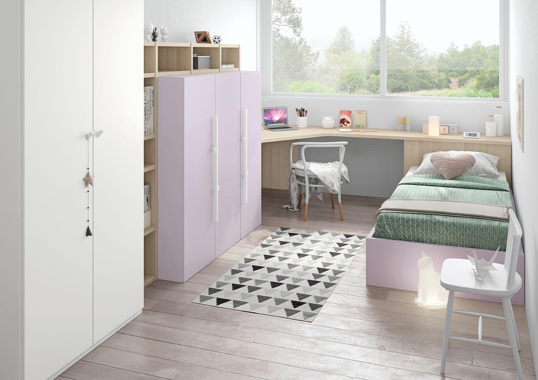 Dormitorio juvenil ni a acabado malva y blanco antaix origami muebles dormitorios juveniles - Dormitorio juvenil nina ...