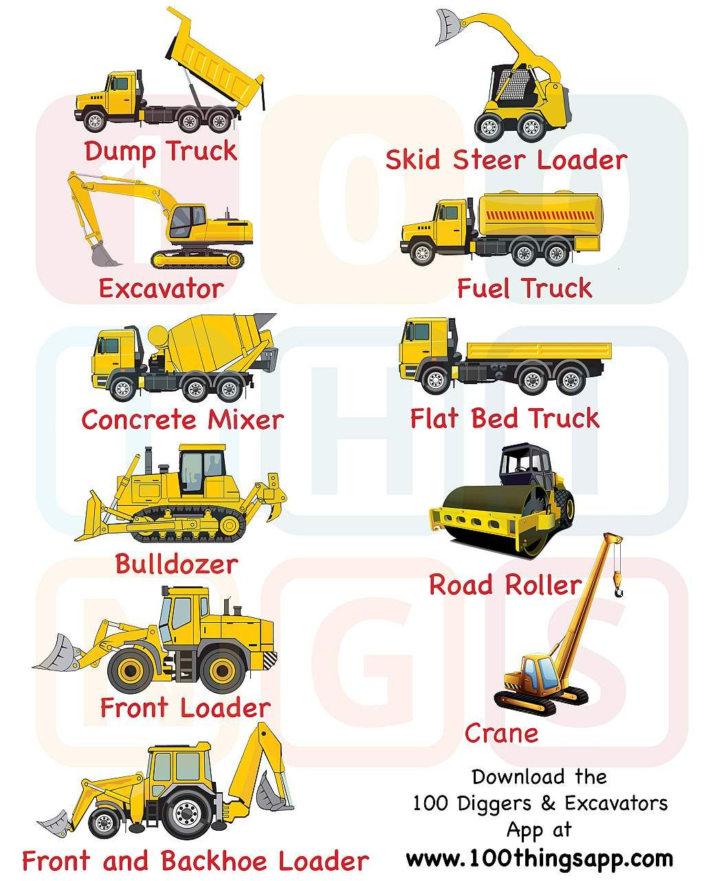 Legend And List Of The Types Of Construction Trucks