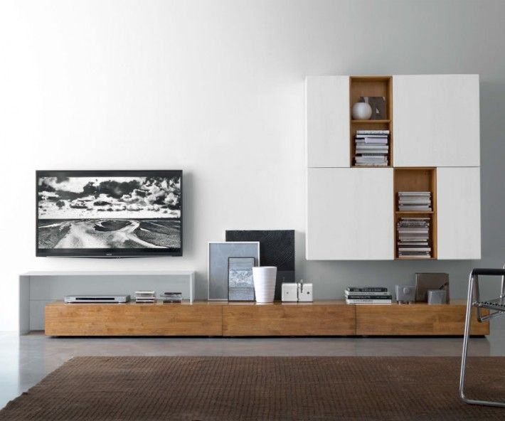 Livitalia wohnwand c18b more tvs tv units and tv walls for Wohnwand holz