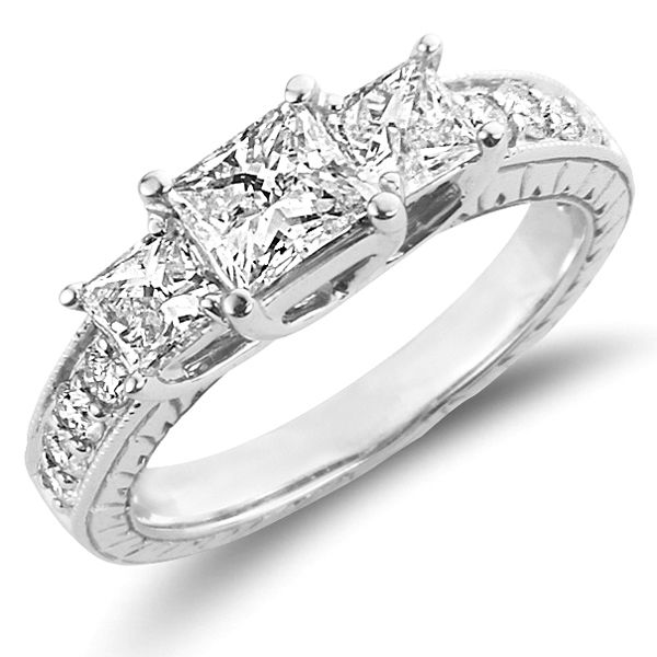 14k White Gold Princess Cut Engagement Ring In 2018 All Things