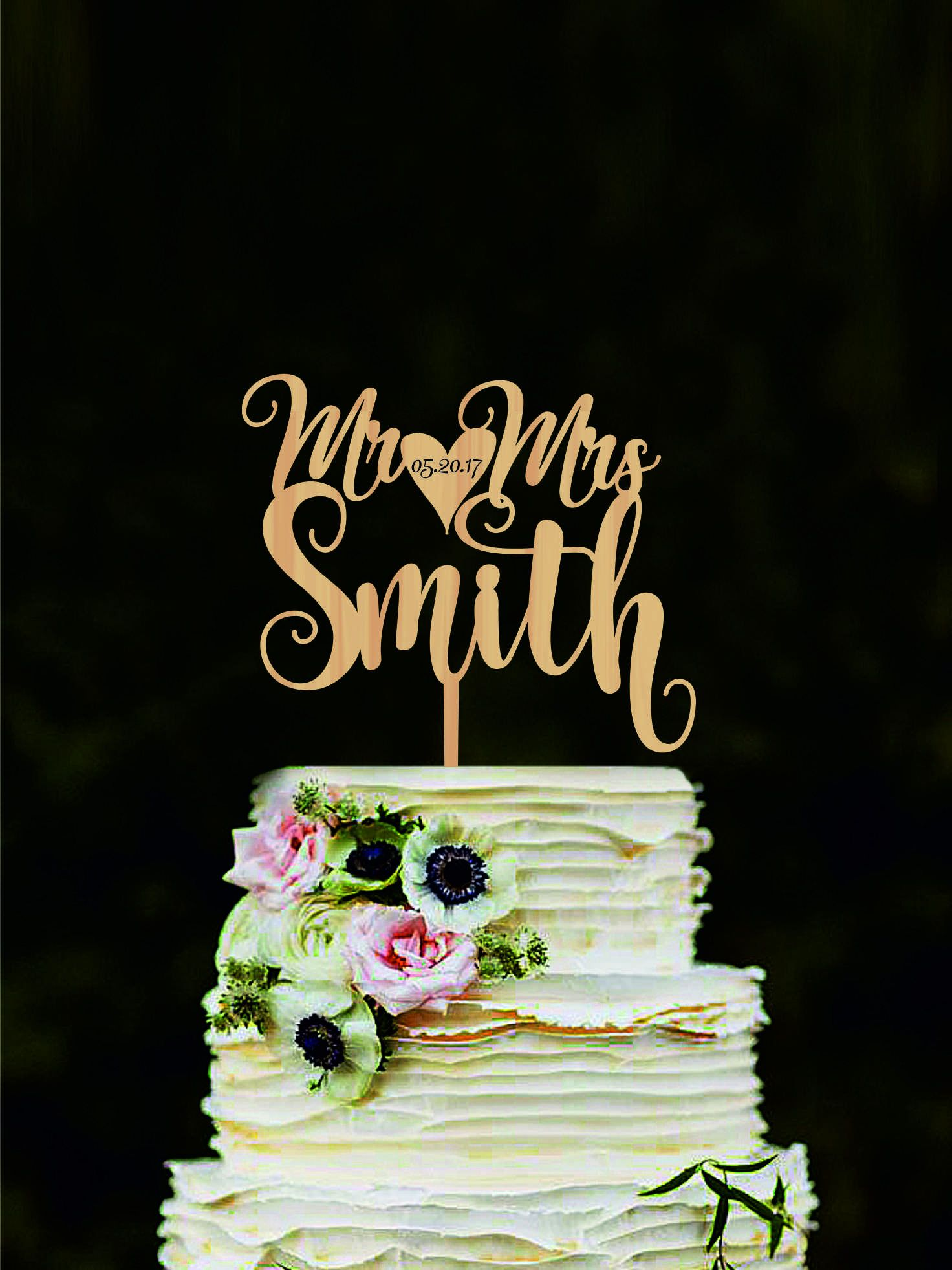 Name and date custom mr and mrs wedding cake topper personalized