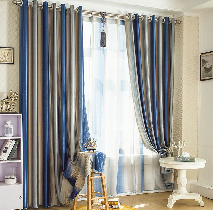 Blue Striped Blackout Lines And Thermal Curtains Uk Blue And Brown Curtains Brown Curtains Curtains