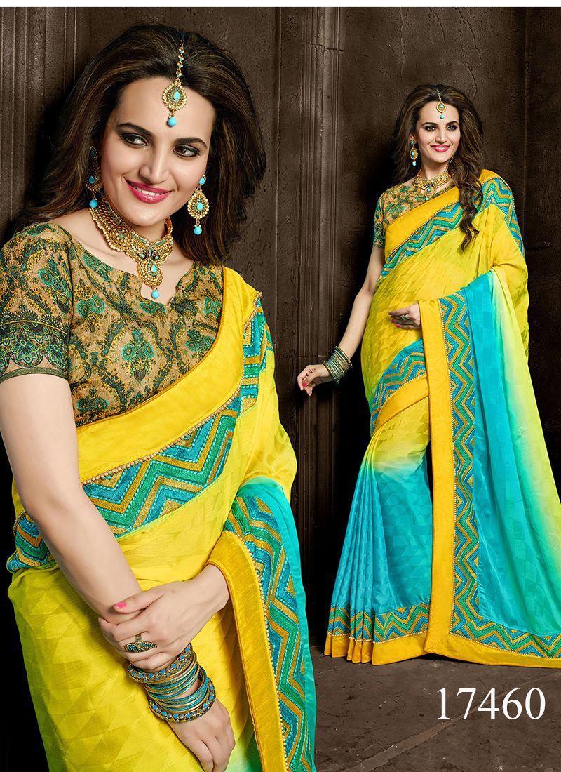 Modern saree models yellow and sky blue colored crepe designer saree designersaree