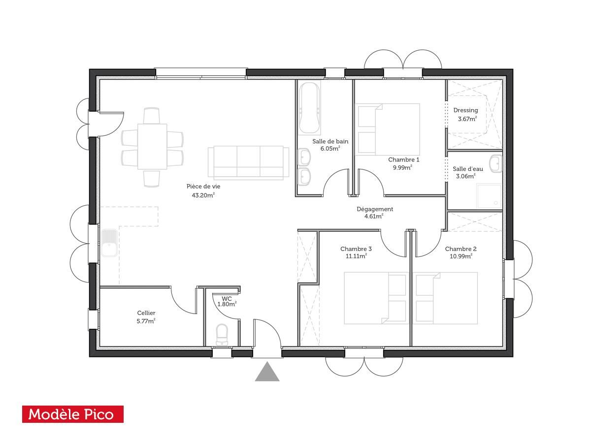 Plan de maison de 100m2 qz19 jornalagora for Plan de maison zone llc