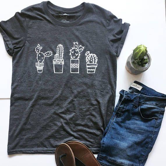 cb4881162 Cactus shirt, cactus tee, cute cacti design, gray and white tee shirt, hand  drawn cactus t shirt, ca