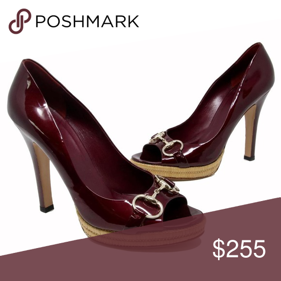 85aff03745b Gucci burgundy heels Gucci signature patent leather horsebit with a 5-inch  high heel very