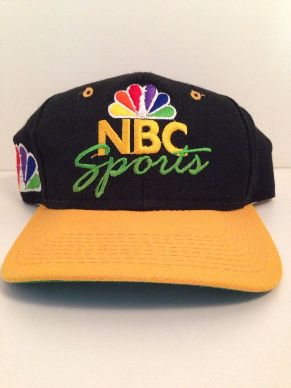 d779ff086ee Vintage Sports Specialties Nbc Sports Script Yellow Black Snapback Hat Cap  on Etsy