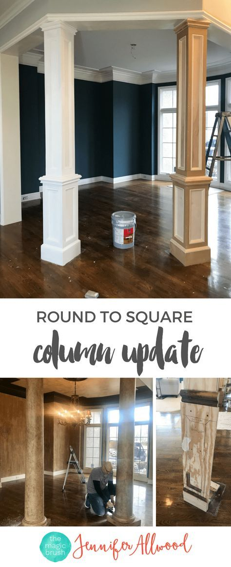 Beau Interior Faux Columns Makeover Jennifer Allwood | Navy Dining Room Makeover  | How To Update Faux FInish Columns | Round Columns | Square Columns | Faux  ...