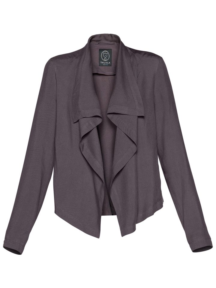 draped-front twill blazer that channels a rock-chick vibe