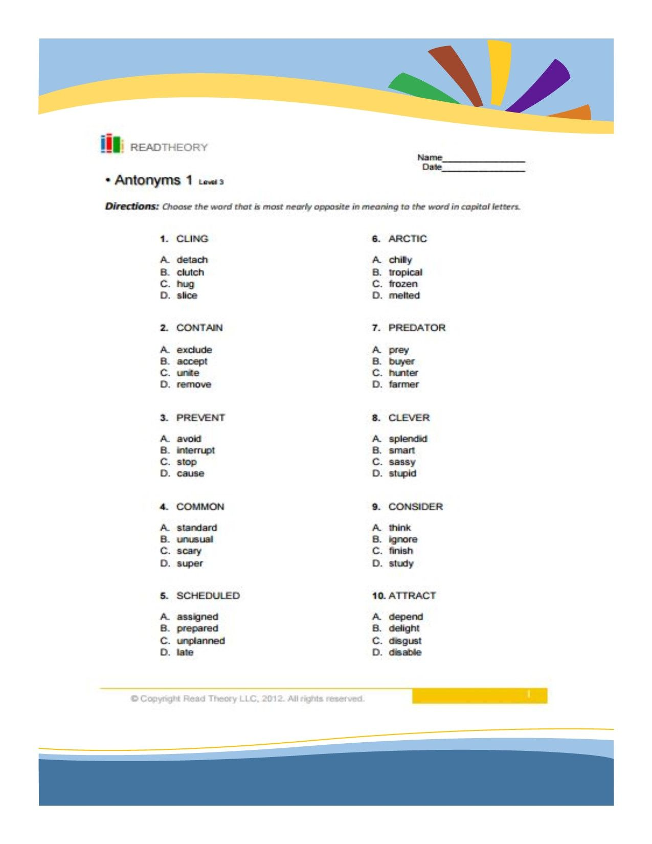 Source Of English Worksheet By Grade Or Levels Synonyms And