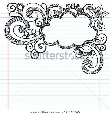 Cloud frame border back to school sketchy notebook doodles vector illustration design on lined sketchbook also best designs images caro diario hand lettering rh pinterest