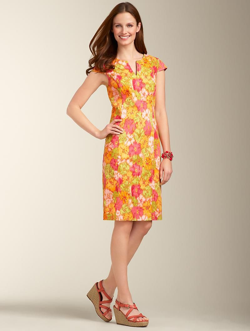 17441d32519 Watercolor Floral Dress from Talbots - way fun for Spring!