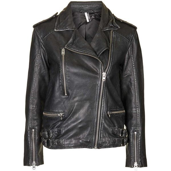 TOPSHOP Distressed Leather Biker Jacket ($275) ❤ liked on Polyvore featuring outerwear, jackets, coats, black, motorcycle biker jacket, motorcycle jacket, topshop, moto jacket and oversized jacket