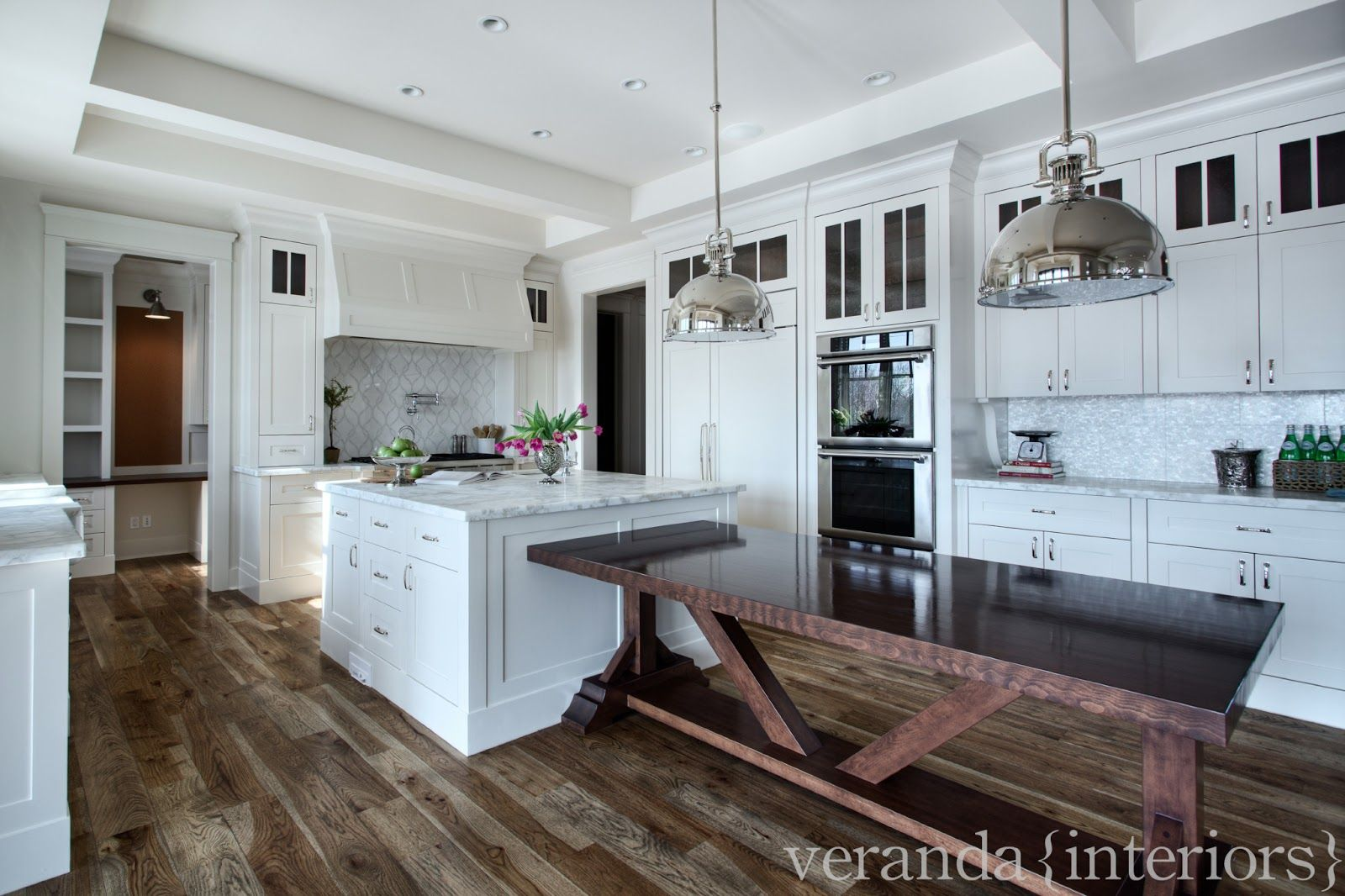Kitchen With Built In Table And Gorgeous Flooring