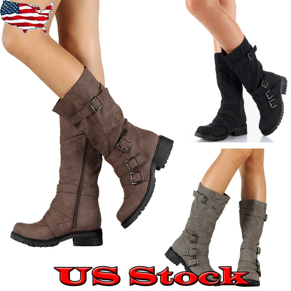 Ladies Womens Faux Leather Wide Mid Calf Block Heels Biker Riding Boots Shoes