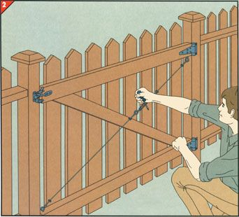 bracing with a wire-and-turnbuckle stay wood fence gates, diy fence,