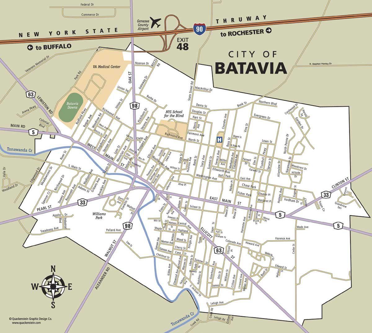 Map Of Batavia Ny Geneseecountyny Bataviany Travel Tips For