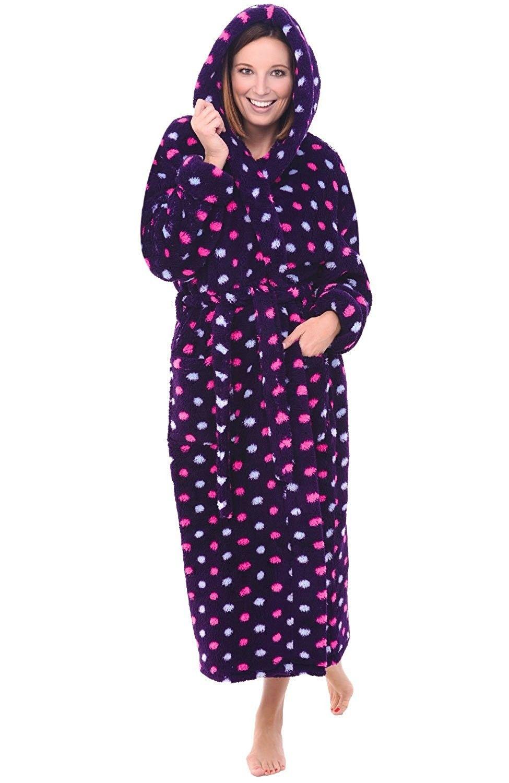 274fa1391f Womens Fleece Robe- Long Plush Hooded Bathrobe - Colorful Dots ...