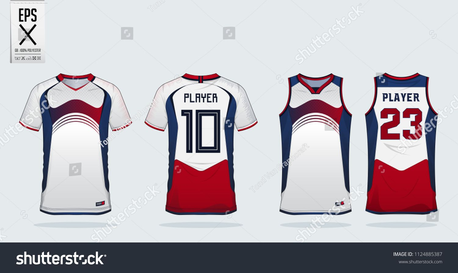 Download Blue Red White Sport Shirt Design Template For Soccer Jersey Football Kit And Tank Top For Basketball Jersey Sport Shirt Design Sports Uniforms Football Kits