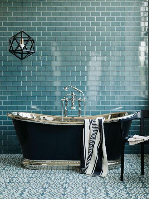 Metro Deco Columbus Circle Green Glazed Tile Shown On The Wall Bathroom Design Luxury Bathroom Design Turquoise Bathroom
