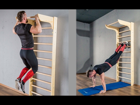 wooden stall bars with pull up bar  youtube in 2020  diy