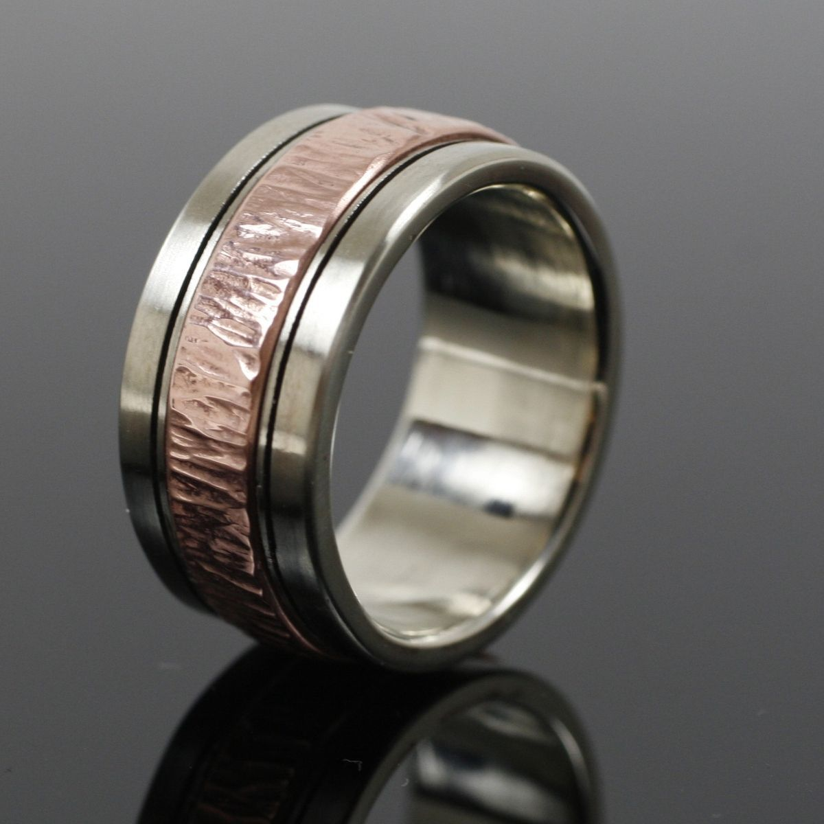 Custom Made Mens White Gold And Copper Wedding Band Mens Jewelry