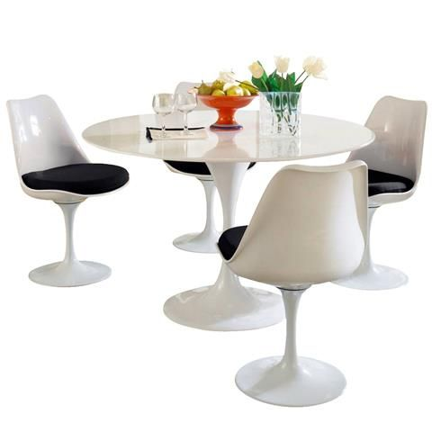 Eero Saarinen Inspired Tulip Table And Side Chairs Set Red - 48 tulip table