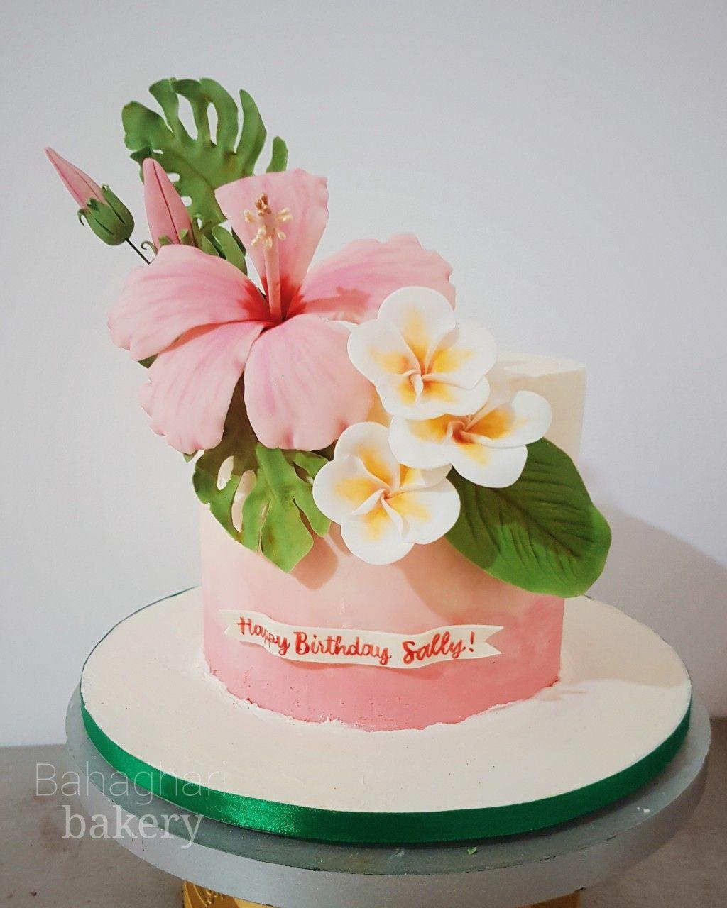 Minimalist Tropical Theme Cake In 2020 Birthday Cake With Flowers Hawaiian Wedding Cake Hibiscus Cake