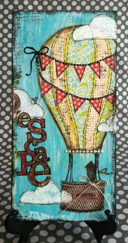 ESCAPE 6x12 Original Mixed Media Canvas. $25.20, via Etsy.