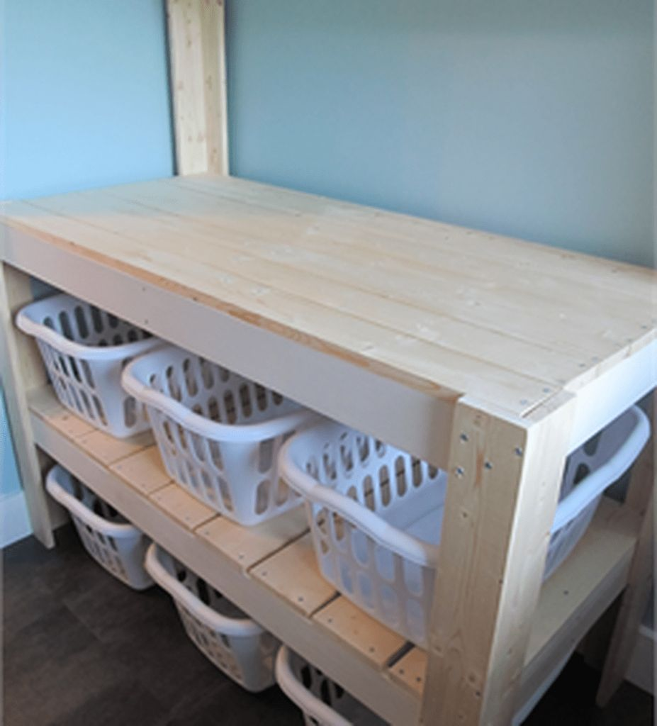 Pin On Home Decor Ideas Laundry room table with storage