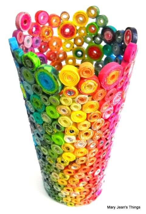 Rolled Paper - Rainbow Vase III - Sculptural Vase http://www.etsy.com/shop/MaryJeansThings