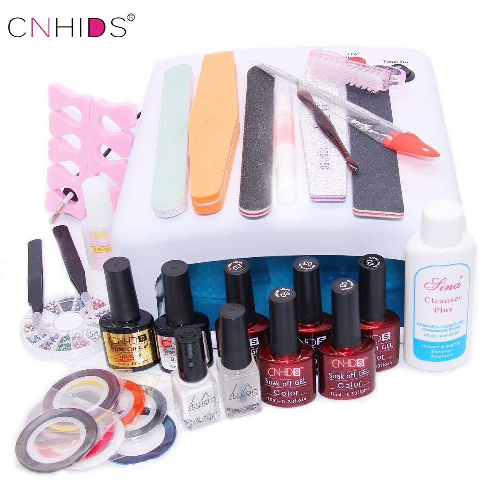 best price nail art manicure 36w uv lamp with 7 5ml nail gel polish ...